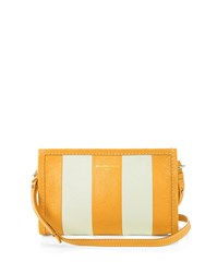 Balenciaga Bazar Leather Cross Body Bag Yellow Stripe