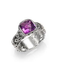 John Hardy Classic Chain Amethyst And Sterling Silver Braided Ring Purple Silver