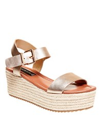 Steve Madden Sabbie Leather Espadrille Wedge Sandals Gold