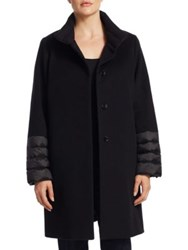 Cinzia Rocca Plus Size Quilted Stand Collar Wool Coat Black