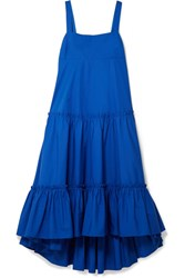 Mds Stripes Tiered Cotton Poplin Midi Dress Cobalt Blue