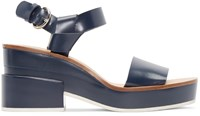 Jil Sander Blue Leather Slingback Sandals