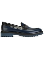 Car Shoe Two Tone Penny Loafers Blue