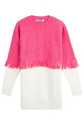 Sjyp Wool Pullover With Fringed Trim Pink