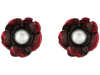Oscar De La Renta Flower Pearl Button C Earrings Ruby Earring Red