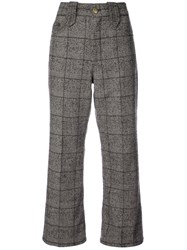 Marc Jacobs Creased Cropped Plaid Pants Cotton Acrylic Nylon Wool Brown