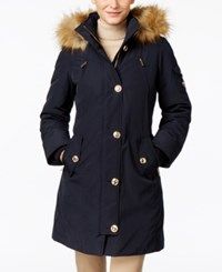 Michael Kors Hooded Faux Fur Trim Down Parka Navy