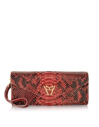 Ghibli Red Python Leather Clutch W Wristelet