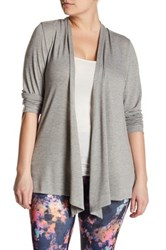 Electric Yoga Open Long Sleeve Cardigan Plus Size Gray