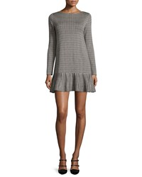 Red Valentino Long Sleeve Houndstooth Drop Waist Dress Black Ivory