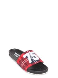 Les Art Ists X Swear Plaid Cotton Flannel Sliders Red