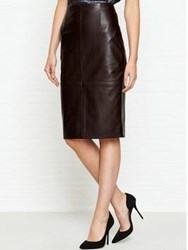 Jigsaw High Waisted Leather Pencil Skirt Rich Cocoa