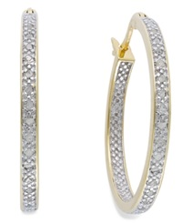 Victoria Townsend Rose Cut Diamond Hoop Earrings In 18K Gold Over Sterling Silver 1 4 Ct. T.W. 26.50Mm Yellow Gold Over Sterling Silver