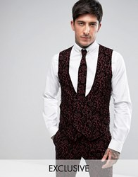 Noose And Monkey Super Skinny Waistcoat With Floral Flocking Burgundy Red