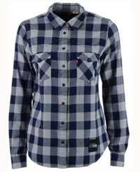 Levi's Women's Seattle Seahawks Plaid Button Up Woven Shirt Navy Gray
