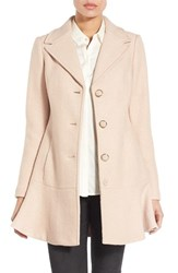 Kensie Women's Notch Lapel Peplum Coat Nude