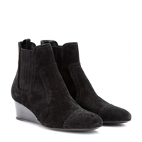 Balenciaga Suede Wedge Brogue Ankle Boots Black