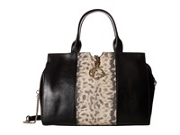 Versace Animal Print Inset Satchel Black Satchel Handbags