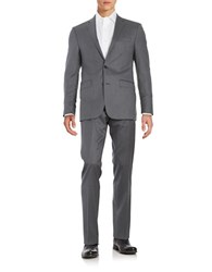 Calvin Klein 2 Button Pickstitched Wool Suit Grey