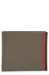 Ted Baker London Snapper Colored Leather Wallet Grey