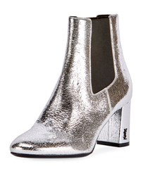 Saint Laurent Loulou Metallic Ankle Boot Silver