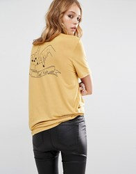 Lira Retro T Shirt With La Forever Pocket Print Mustard Yellow