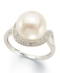 Macy's Sterling Silver Ring Cultured Freshwater Pearl 11Mm And Diamond 1 8 Ct. T.W. Loop Ring Black