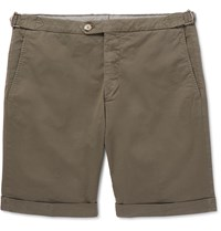 Thom Sweeney Slim Fit Cotton Blend Twill Shorts Green