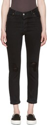 Re Done Black High Rise Ankle Crop Jeans