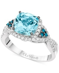 Le Vian Exotics Aquamarine 1 3 8 Ct. T.W. And Diamond 1 3 Ct. T.W. Ring In 14K White Gold