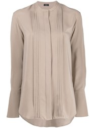 Joseph Long Sleeve Shift Blouse Brown