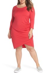 Gibson Plus Size Women's X Living In Yellow Hannah Ruched Faux Wrap Dress Fuchsia Red