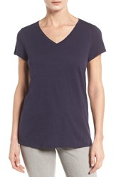 Eileen Fisher Women's Organic Cotton V Neck Tee Midnight