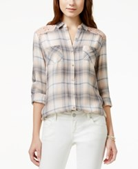 American Rag Plaid Lace Trim Button Front Blouse Only At Macy's