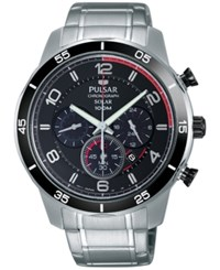 Pulsar Men's Solar Chronograph On The Go Stainless Steel Bracelet Watch 44Mm Px5055