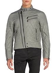 Ralph Lauren Black Label Grand Prix Quilted Moto Jacket Metal Grey