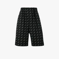 Balenciaga Drop Crotch Logo Shorts Black