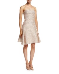 Oscar De La Renta Strapless Fit And Flare Cocktail Dress Light Pink Gold Light Pink Gold