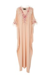 Christian Siriano Feather Embellished Caftan Pink