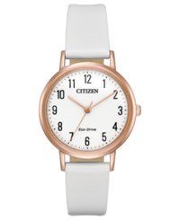 Citizen Eco Drive Women's White Leather Strap Watch 30Mm
