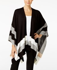 Calvin Klein Colorblocked Poncho Cardigan Black