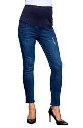 Maternal America Women's Over The Bump Maternity Ankle Jeans