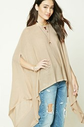 Forever 21 Ribbed Knit Poncho Beige