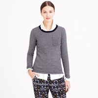 J.Crew Collection Cashmere Long Sleeve Tee In Thin Stripe