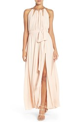 Lulus Women's Lulu's Gold Metallic Halter Neck Chiffon Gown Blush
