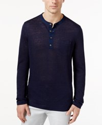 Tasso Elba Men's Marled Henley Shirt Only At Macy's Blue Note