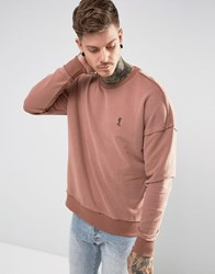 Religion Dropped Shoulder Sweatshirt With Raw Seam Pink