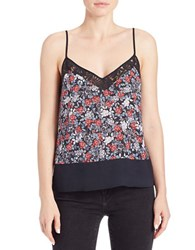 French Connection Lace Trimmed Floral Tank Black Multi