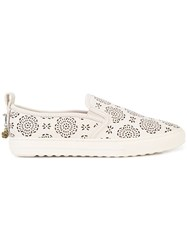 Coach Floral Perforated Slip On Sneakers White