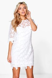 Boohoo Tanzy Lace Crochet Applique Bodycon Dress Ivory